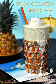 1.5 -2 cups of fresh pineapple pieces  1 banana, frozen  1 can full fat coconut milk (I use this)  1 handful ice cubes