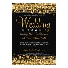 Elegant Couples Shower Party Sparkles Gold Card