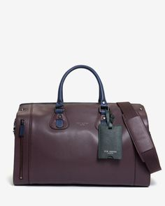 Colour block leather holdall - Oxblood | Bags | Ted Baker