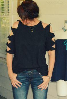 No Sew, Shoulder Tied Tee. http://wobisobi.blogspot.com/2016/06/shoulder-tied-tee-shirt-diy.html