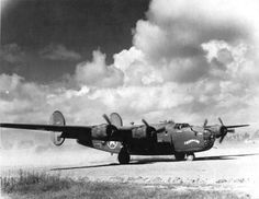"""centreforaviation: B-24D Liberator """"Chug-A-Lug"""" of the 308th Bomb Squadron ready for take-off from the Kunming Airfield, Kunming, China, Summer 1943."""