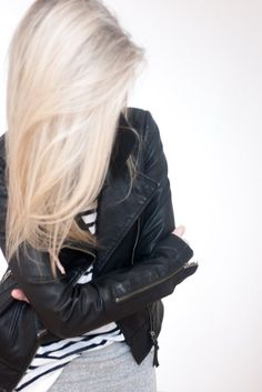 platinum hair + stripes + leather. #liveincolor