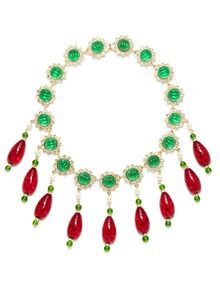 Gold, Red, & Green Starburst Bib Necklace by Kenneth Jay Lane