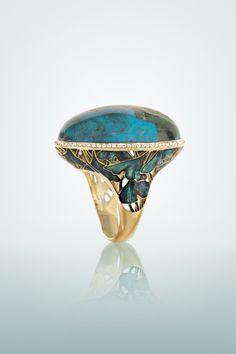 """""""Ginkgo Biloba"""",  gold, Eilat stone, diamonds, enamel"""