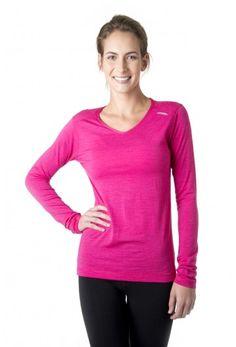 Tofino Merino LS - Women's long sleeve merino wool shirt in fruit punch pink