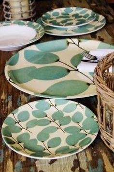 vintage leaves melamine dinner set click now for info. Melamine Dinnerware, Vintage Dinnerware, Ceramic Tableware, Ceramic Pottery, Slab Pottery, Ceramic Bowls, Kitchenware, Painted Plates, Hand Painted Ceramics