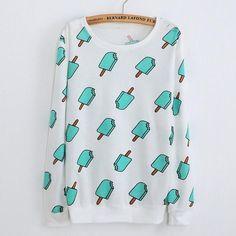 2017 Autumn New Women Long Sleeve Hoody Ice Cream Popsicle Print Sweatshirt Casual Sweatshirt Cotton Tracksuits for Teen Girls