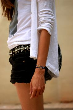 .the belt studded with casual T