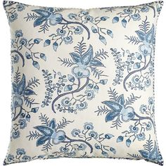 John Robshaw Ambala Blue Floral Pillow (340 CAD) ❤ liked on Polyvore featuring home, home decor, throw pillows, blue, flowered throw pillows, floral throw pillows, blue home accessories, floral home decor and floral accent pillows