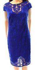 Tadashi Shoji NEW Blue Women Size 4 Crochet-Laced Overylay Sheath Dress $369 230
