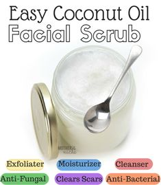 Coconut Oil Facial scrub mix 1Tbsp coconut oil & 1Tbsp baking soda. U can use sugar which is great for the body but a little too rough for the skin. If u decide to use sugar use brown sugar. If u are making enough to store in a container just keep doubling the recipe until u have the amount u want. U can add 2-3 drops of essential oil to ur mixture too. Essential Oils: Lemon Lavender frankincense