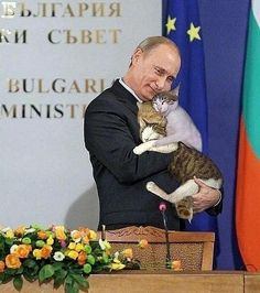 politician can kiss babies, Putin hugs an armful of cats. and they look damn happy.Any politician can kiss babies, Putin hugs an armful of cats. and they look damn happy. I Love Cats, Crazy Cats, Cool Cats, Beautiful Cats, Animals Beautiful, Cute Animals, Men With Cats, Tier Fotos, Cat People