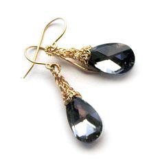 Wire crochet earrings - GRAY Crystal Earrings - Gold drop earrings