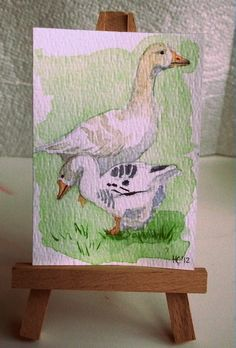 Geese ACEO £5.25 by Hannelore's Atelier