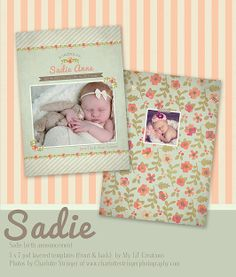 New Sadie Birth Announcement Template at www.mylilcreations.com