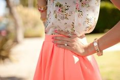 floral, skirt, peach, pastel, cute, style, fashion, girly