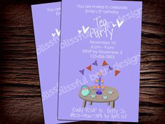 TEA PARTY INVITATION Personalized Tea Party by BlissfulBethDesigns, $11.00