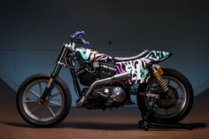 This 1989 Harley Sportster Is Now a Colorful Flat Track Racer