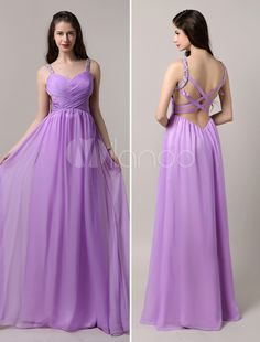 Lavender Strapy Chiffon Dress with Cross-over Draped Bodice and Criss Cross Back