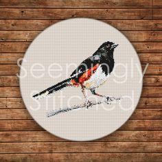 Counted+Cross+Stitch+Pattern++Eastern+Towhee+von+SeeminglyStitched