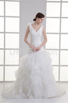 Luxury White Ball Gown Natural V-neck Organza/ Satin Wedding Dress