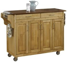 Home Styles 9200-1016G Create-a-Cart, Natural Finish with Oak Top by Home Styles. $361.83. 3/4-inch oak finished wood top. Handy spice rack with towel bar and paper towel holder. Heavy duty locking rubber casters for easy mobility and safety. Four cabinet doors that open to storage with three adjustable shelves inside. Home Styles Create-a-cart in a natural finish with a 3/4-inch oak finished wood top features solid wood construction, four cabinet doors that open to storage with...