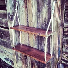 Hanging Shelf Red Oak Stained Double Hanging by BoondockTreasures, $60.00