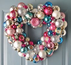 Valentine Heart Wreath Pink and Aqua FREE shipping by judyblank, $199.00