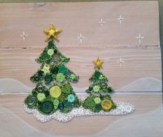 Button Art Christmas Trees on Recycled Wood with Acrylic Paint Background…