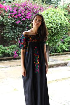 a4ee7717832 Black with Multi Colored embroidery San Antonino Wedding Dress – Casa Otomi  Mexico