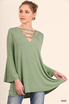 Criss Cross Front and Back Detail Top with Bell Sleeves