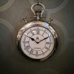 Bond Street Chrome Pocket Watch Wall Clock Dimensions 29cm x