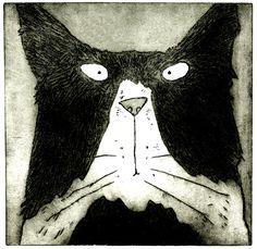 Tom Cat - original black and white Tom cat print, black and white cat art, limited edition of 250 black and white Tom Cat etching prints by LucyGell on Etsy https://www.etsy.com/listing/251445611/tom-cat-original-black-and-white-tom-cat