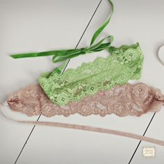 A stretch lace headband with velvet ties.