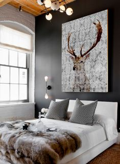 The Highlands Wrapped Canvas Josh would love canvass for his man cave Neat Idea, Love the Paint, for another future project! White and Grey. Deer Decor, Wall Decor, Wall Art, Home Interior, Interior Styling, Home Living, Living Room, My New Room, Interiores Design