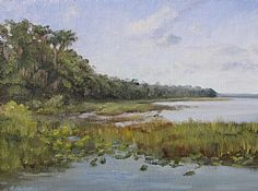 """Afternoon at Lake Lochloosa by Linda Apriletti Oil ~ 9"""" x 12"""""""