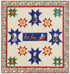 """Sew in Love {with Fabric}: """"Starring St. Nick"""" quilt by Jackie Robinson, featured in McCall's Quilting November/December 2014. Uses her collection, Father Frost."""