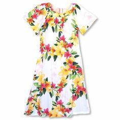 83cf1178a31c6 Rain White Hawaiian Rayon Tea Muumuu Dress - Lavahut Hawaiian Muumuu,  Hawaiian Girls, Hawaiian