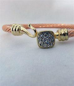 $24 Cable Latch Bracelet - Rose Gold Square Diamond
