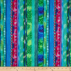 Laurel Burch Dogs & Doggies Stripe Dark Aqua from @fabricdotcom  Designed by Laurel Burch for Clothworks Fabric, this cotton print fabric is perfect for quilts, home décor accents, craft projects and apparel. Colors include shades of blue, green, pink, purple and turquoise.
