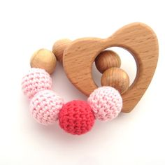 Teething Wood Ring Organic Cotton Juniper wood Wood Rattle Toy New Baby Gift Teething toy Wooden a heart Crochet toy New Mom Gift Pink Gifts For New Moms, New Baby Gifts, Pram Toys, Baby Gym, Baby Teethers, Montessori Toys, Teething Toys, Newborn Gifts, How To Make Beads