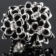 Cocktail Silver Tone Black Flower Bouquet Celebrity Style Fashion Stretch Ring | eBay