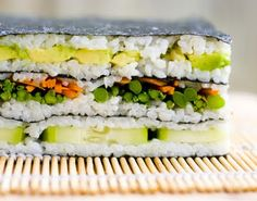 I'm not an accomplished sushi roller - avocado squishes out on me, the middles of my rolls have gaps and so, whoops, there goes the cuke. Sandwiches For Lunch, Wrap Sandwiches, Sushi Wrap, Vegan Sushi Rolls, Sushi Cake, Small Meals, Tasty Dishes, Rice Dishes, Lasagna