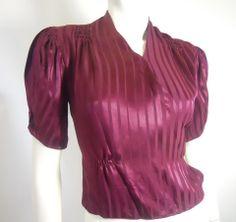 Deep Wine Satin Evening Jacket circa 1930s - Dorothea's Closet Vintage