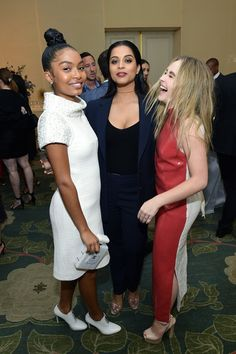Yara Shahidi, Lilly Singh and Sabrina Carpenter attend ELLE's 24th Annual Women in Hollywood Celebration presented by L'Oreal Paris, Real Is Rare, Real Is A Diamond and CALVIN KLEIN at Four Seasons Hotel Los Angeles at Beverly Hills on October 16, 2017 in Los Angeles, California. - ELLE's 24th Annual Women in Hollywood Celebration