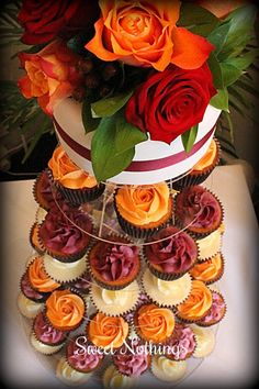 Autumn wedding cupcake tower Sweet Nothings Cakes & Cupcakes I like the colors. Fall Wedding Cupcakes, Cupcake Tower Wedding, Bridal Shower Cupcakes, Wedding Desserts, Shower Cakes, Cupcakes Fall, Autumn Wedding Cakes, Orange Cupcakes, Fall Cakes