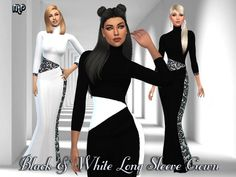 The Sims Resource: MP Black and White Long Sleeve Gown by MartyP • Sims 4 Downloads