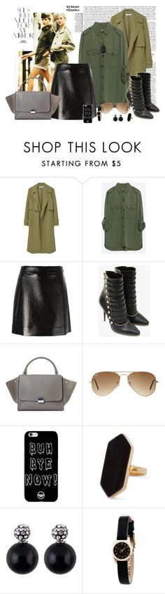 """MILITAR URBAN"" by ferreirabruna ❤ liked on Polyvore featuring MANGO, Army of Me, Zara, MICHAEL Michael Kors, Balmain, CÉLINE, Ray-Ban, Jaeger, Marc by Marc Jacobs and Venyx"