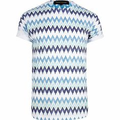 Blue zig zag print crew neck t-shirt £18.00