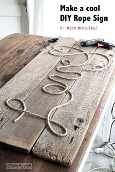 Make a cool DIY Rope Sign... in minutes! By Funky Junk Interiors for Ebay